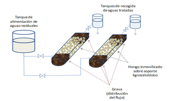 Scheme of the bioremediation system based on the use of white rot fungi (WRF) planned to be tested in the Llobregta River.